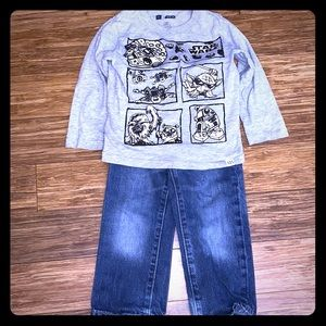 Gap Glow In the Dark Star Wars Shirt with Jeans